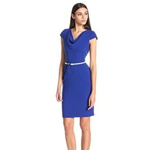 NWOT Calvin Klein | Blue Cowl Cap Sleeve Dress